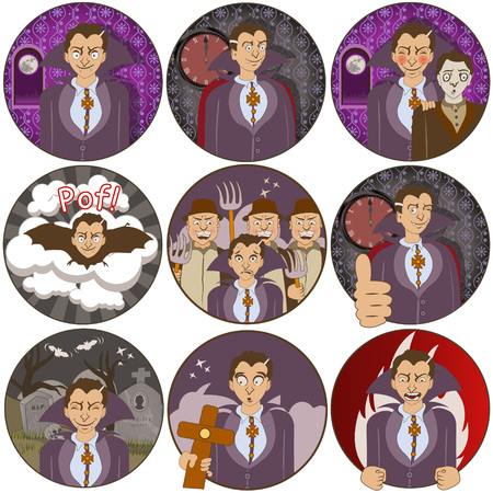 irritation: Vector illustration of nine different vampire funny stickers - face expressions. Illustration