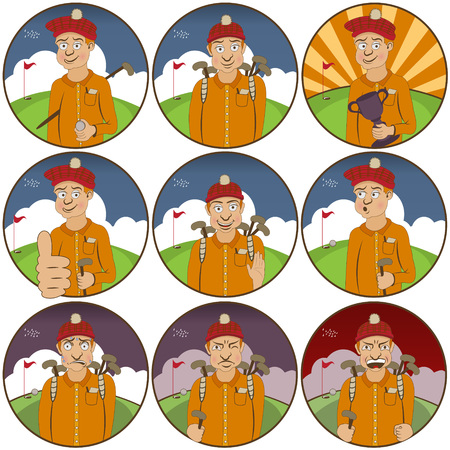 irritation: illustration of nine different golfer  funny stickers - face expressions.