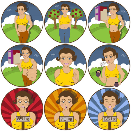 face expressions: illustration of nine different Young female  funny stickers - face expressions. Vectores