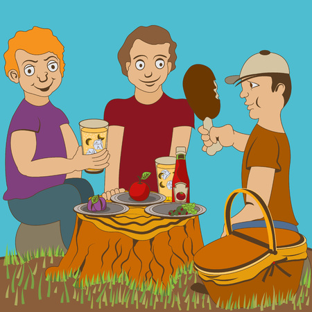 log basket: Three young friends enjoying their lunch during a picnic. One of them is especially a meat lover. The other two prefer a lemonade.