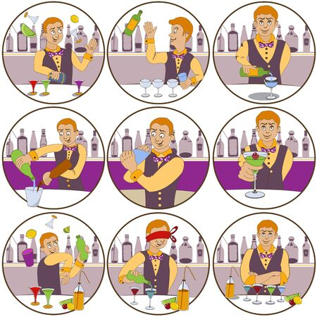 face expressions: illustration of nine different skillful barman funny stickers - face expressions.
