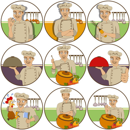 irritation: illustration of nine different chef funny stickers - face expressions.