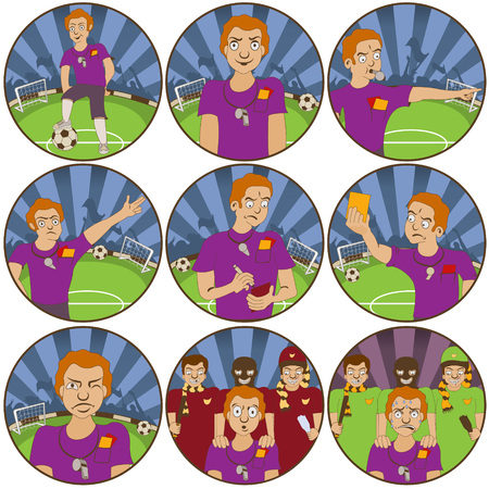 fair play: illustration of nine different soccer ball  referee funny stickers - face expressions.
