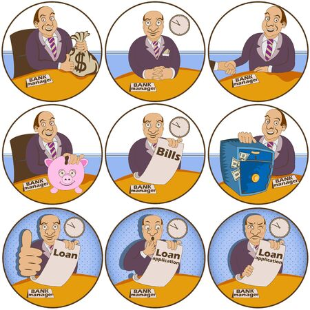 millionaire: Vector set of nine different bank manager rounded illustrations.