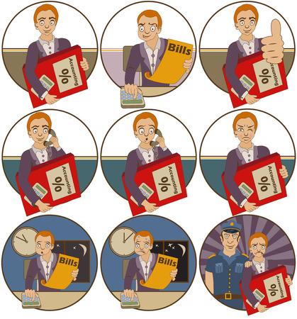 personas trabajando en oficina: Conjunto de vectores de nueve diferentes ilustraciones de dibujos animados contador.