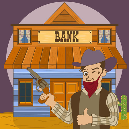 Vector illustration of a cartoon bank robber in front of the old western building.
