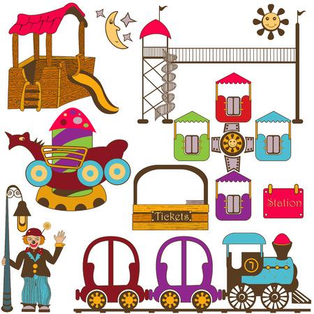 amusement: Kids amusement park color set
