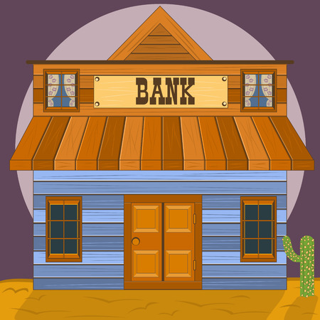old office: Old west building - bank office Illustration