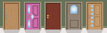 lift lock: Vector illustration of different kind of doors on a green wall
