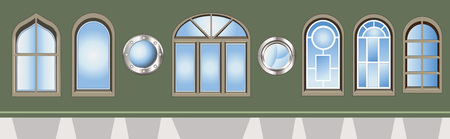 typology: Vector illustration of different kind of  windows on a green wall