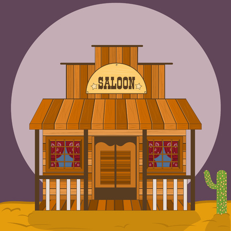 cowboy cartoon: old western building - saloon