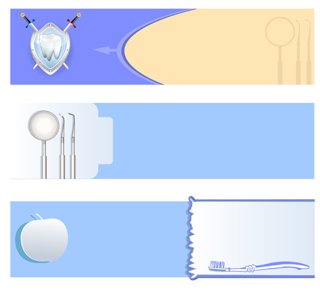Vector collection of three different dental banner backgrounds. Illustration