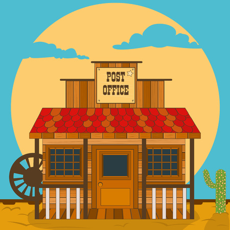 old west: Vector illustration of an old west building - post office.