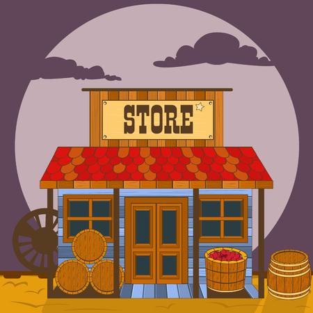 Illustrazione vettoriale di un vecchio edificio ovest - negozio. Vettoriali