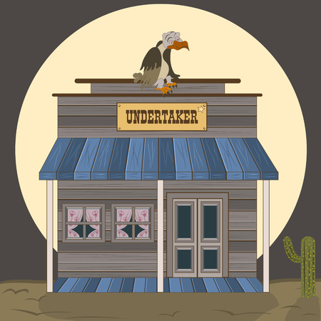 Vector illustration of an old west building - undertaker with a vulture on the roof.