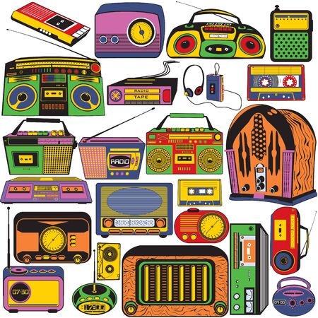 walkman: Great vector collection of different radio and cassettes colored in pop art style.