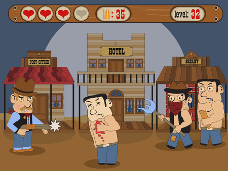 porch: Vector illustration of a wild west scenery for online game. Illustration