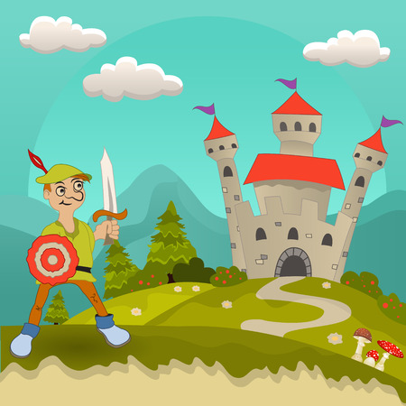 chivalry: Vector illustration of a medieval hero or knight in front of the castle.