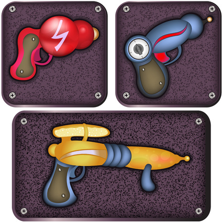 ray gun: Vector illustration of three different ray gun icons. Illustration