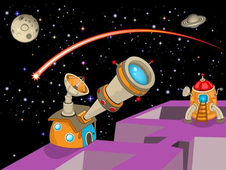 Cartoon observatoire astronomique Vecteurs
