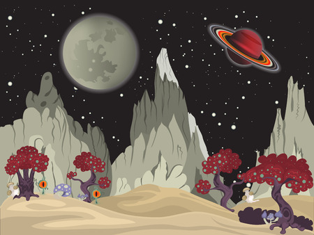 cartoon vector illustration of a space landscape.