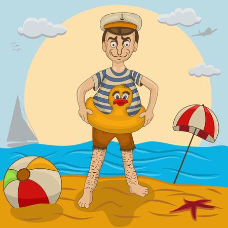 swim cap: New swimmer on the beach
