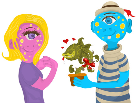 Receiving: Vector illustration of an alien female monster receiving a plant.