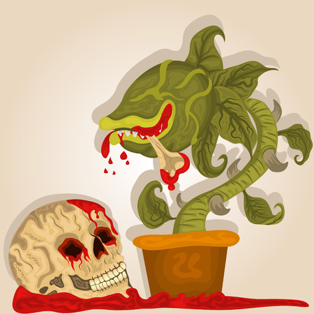 carnivorous: Vector illustration of a carnivorous plant and a bloody human skull.