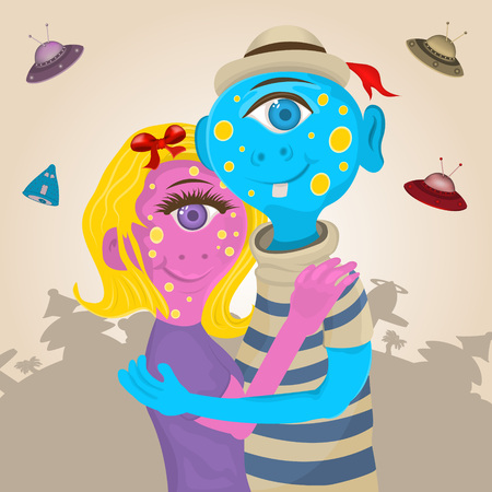 couple together: Vector illustration of couple of aliens hugging together. Illustration