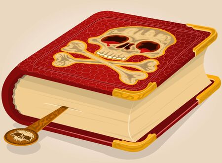 philosophical: Vector illustration of a bloody skull horror book.