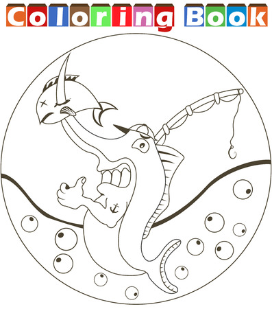rounded: Vector illustration of a cartoon swordfish image for a coloring book Illustration