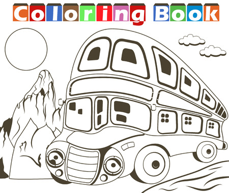 tour bus: Vector illustration of a double decker bus image for coloring book