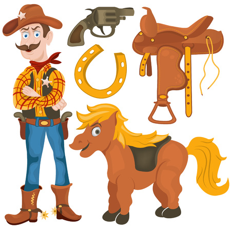 Cartoon Vektor-Illustration von einem Sheriff, pony, Sattel, Fohlen und Hufeisensammlung. Vektorgrafik