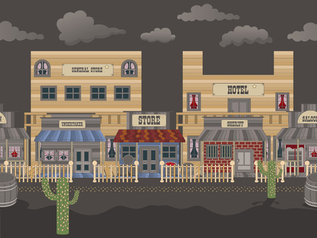 general store: Vector illustration of an old western town tillable background - night.