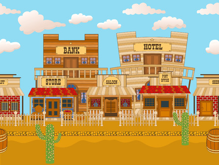 Vector illustration of an old western town tillable background. Illustration