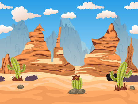 Vector illustration of a cartoon western desert  tillable horizontal background. Illustration