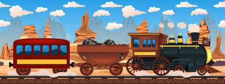 passenger transportation: Vector illustration of a vintage western train. Illustration