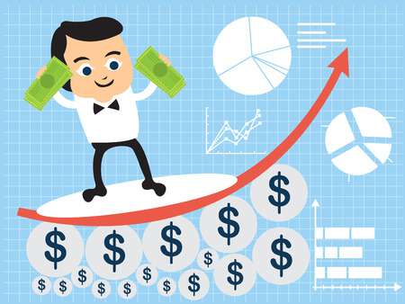 way up: Vector illustration of a businessman surfing on a statistic graph, holding money.