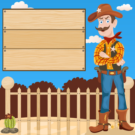 gangster with gun: Cartoon vector illustration of a Sheriff in front of the fence and a wooden empty banner, looking to us.