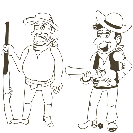 bandits: Cartoon vector illustration of western bandits, outlined - part 2
