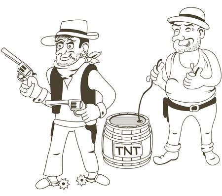 gunman: Cartoon vector illustration of western bandits, outlined - part 1