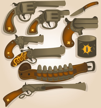 bullets: Vector collection set of different wild west arms, bullets and a holster belt.