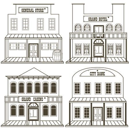 old west: illustration collection of an old west buildings: general store, hotel, grand casino and a city bank, outlined.