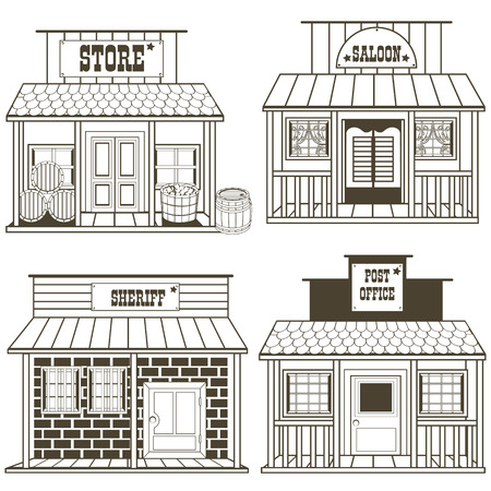 post office building: illustration collection of an old west buildings: store, saloon, sheriff, post office