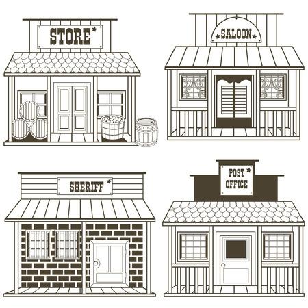 raccolta Illustrazione di un vecchio edifici ovest: negozio, salone, sceriffo, ufficio postale Vettoriali