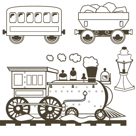 19th century style: illustration collection of old west trains with wagons and a lamp, outlined. Illustration
