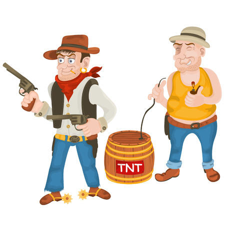 bandits: Cartoon illustration of two colored wild west bandits Illustration