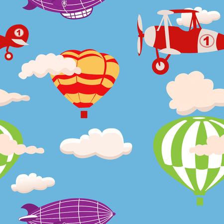 luftschiff: Luftschiff nahtlose Hintergrund Illustration