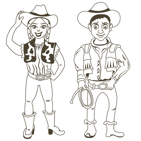 nice guy: illustration of a cowboy and a cowgirl, outlined. Illustration