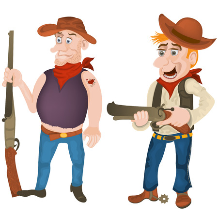 bandits: illustration of two colored western bandits armed with rifles